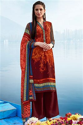 image of Brown Color Long Length Crepe Salwar Kameez with Embroidery