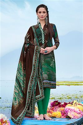 image of Straight Cut Georgette Salwar Kameez In Mehendi Green Color