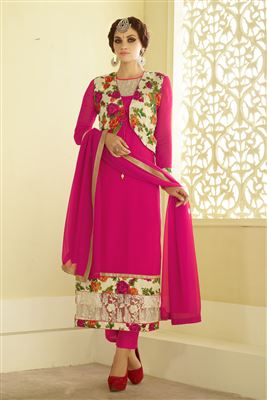 image of Off White-Pink Color Enchanting Chanderi Suit