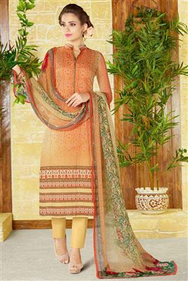517bba904a image of Beige Color Lawn Cotton Straight Cut Casual Printed Punjabi Dress
