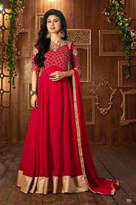 image of Georgette Long Length Anarkali Salwar Suit in Red Color Featuring Mouni Roy