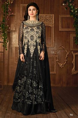 image of Mouni Roy Black Color Long Length Georgette Designer Anarkali Suit