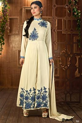 image of Cream Color Designer Salwar Suit in Georgette Fabric Featuring Mouni Roy