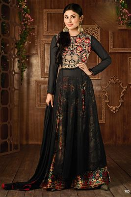 image of Mouni Roy Black Color Party Wear Georgette Palazzo Salwar Kameez