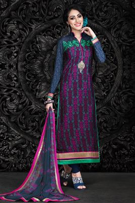 image of Coffee Straight Cut Chanderi Salwar Kameez-13274