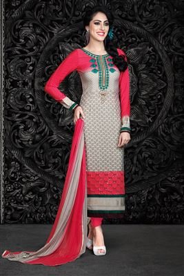 image of Beige-Mehendi Green Cotton Party Wear Printed Suit