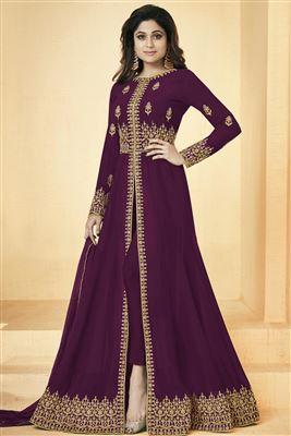2bd0520879 image of Occasion Wear Dark Green Embroidered Anarkali Salwar Kameez In Art  Silk Fabric With Banarasi