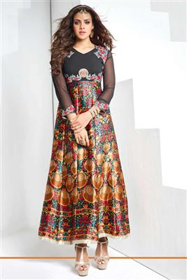 image of Maroon Color Designer Embroidered Georgette Kurti