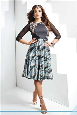 image of Designer Party Wear Grey Color Kurti in Georgette Fabric