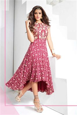 image of Chikoo Georgette Designer Kurti with Embroidery