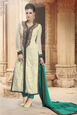 image of Stylish Beige Color Satin Palazzo Suit