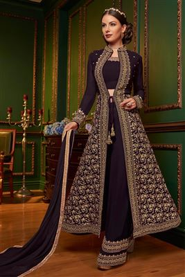 778be9f0eaa image of Wine Color Georgette Fabric Function Wear Anarkali Salwar Kameez  With Embroidery Designs