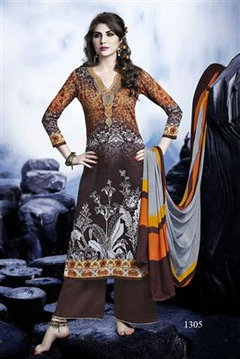 image of Cotton Satin Party Wear Orange Color Designer Pakistani Style Palazzo  Suit