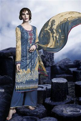 image of Black Long Length Crepe Salwar Kameez-3210