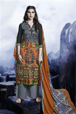 image of Green-Orange Color Printed Party Wear Cotton Dress Material