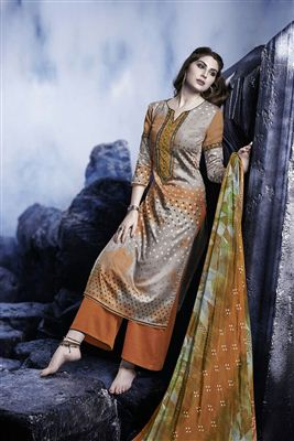 image of Gorgeous Green Color Cotton Satin Palazzo Salwar Kameez
