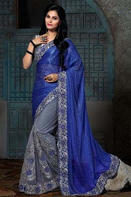 image of Grey And Orange Color Designer Saree In Chiffon And Net Fabric With Embroidery