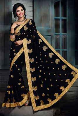 image of Commendable Beige-Navy Blue Georgette Saree-12804