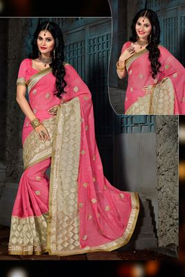 image of Peach Color Chiffon-Net Designer Party Wear Saree