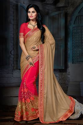 image of Soothing Silk And Net Fabric Pink And Beige Color Wedding Saree