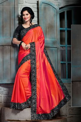 image of Shimmering Designer Embroidered Silk And Net Saree