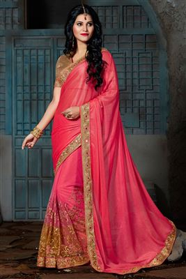 image of Cream Color Designer Georgette-Silk Fabric Saree with Embroidery