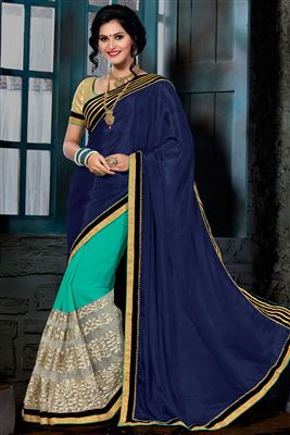 image of Beige Georgette Saree With Pearl Border-1195