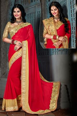 image of Pink And Off White Color Embroidered Half N Half Saree in Viscose And Net Fabric