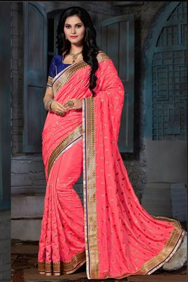 image of Party Wear Orange Color Saree in Art Silk Fabric with Jacquard Border