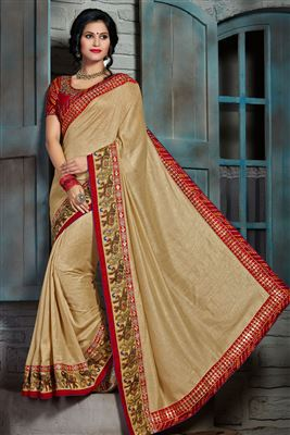 image of Fancy Print Regular Wear Red Color Chiffon Saree