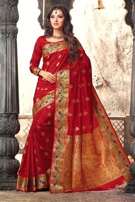 image of Traditional Fancy Silk Party Saree In Red Color