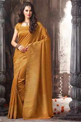 image of Orange Color Traditional Party Wear Silk Saree