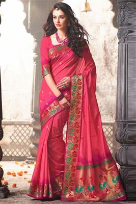 image of Pink Color Party Wear Designer Chiffon Shimmer Saree with Blouse