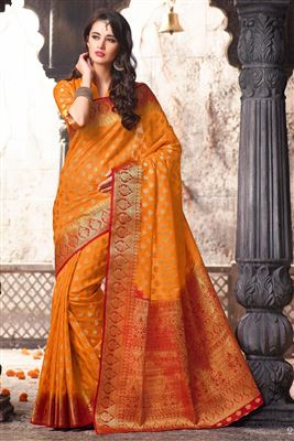 image of Yellow Wedding Wear Designer Lehenga Saree -3425