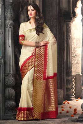 image of Pink And Orange Color Traditional Party Wear Silk Saree
