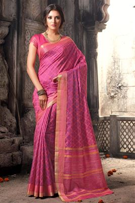 image of Designer Purple-Cream Color Half n Half Embroidered Saree in Velvet-Cotton Fabric