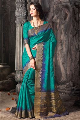 image of Blue Color Party Wear Traditional Silk Saree