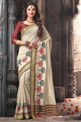 image of Art Silk Fabric Party Wear Designer Saree in Beige Color