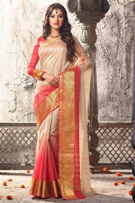 image of Grey Color South Indian Style Art Silk Fabric Saree