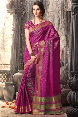 image of Grey-Peach Georgette Embroidered Saree with Blouse