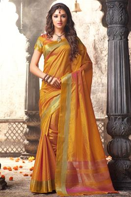 image of Orange Color Party Wear Traditional Silk Saree