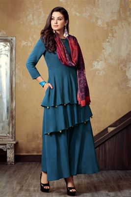 c12c470bfa4 image of Teal Georgette Embroidered Floor Length Anarkali Dress In Plus Size