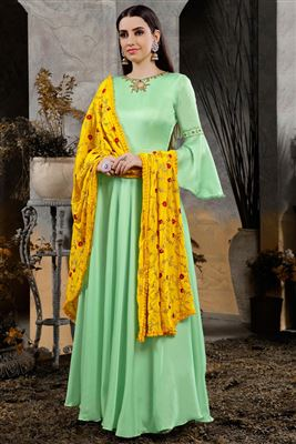 5053f24ba8 image of Cotton Embroidered Designer Sea Green Gown Style Readymade Anarkali  Suit