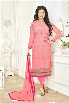 image of Ayesha Takia Long Length Georgette Salwar Kameez in Cream Color