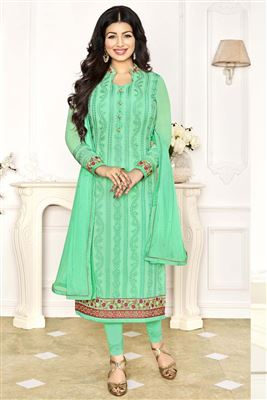 image of Drashti Dhami Green-Cream Color Party Wear Saree-2