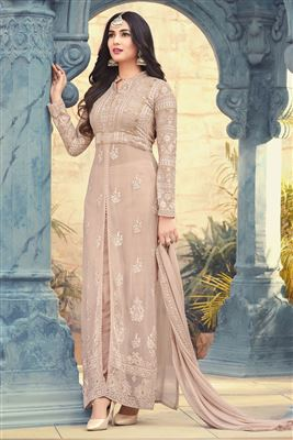 c7a57ea94a image of Sonal Chauhan Featuring Occasion Wear Georgette Fabric Embroidered  Anarkali Salwar Kameez In Chikoo