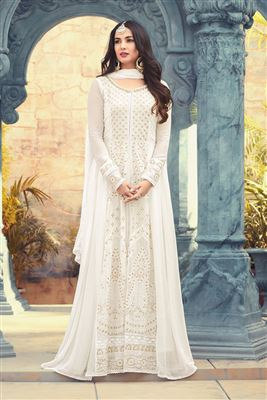 b9d922806d image of Sonal Chauhan Featuring Embroidery Work On Georgette Fabric White  Wedding Wear Anarkali Salwar Suit
