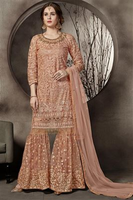 d05abe6550 image of Mesmeric Green Designer Party Wear Art Silk Palazzo Salwar Kameez