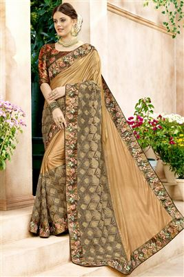 18e5f3ed5 image of Function Wear Designer Lycra And Net Fabric Saree In Beige With  Printed Blouse
