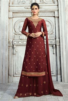 666cfcfbbe6c image of Pleasing Satin Georgette Fabric Designer Brown Heavy Embroidery  Palazzo Salwar Kameez